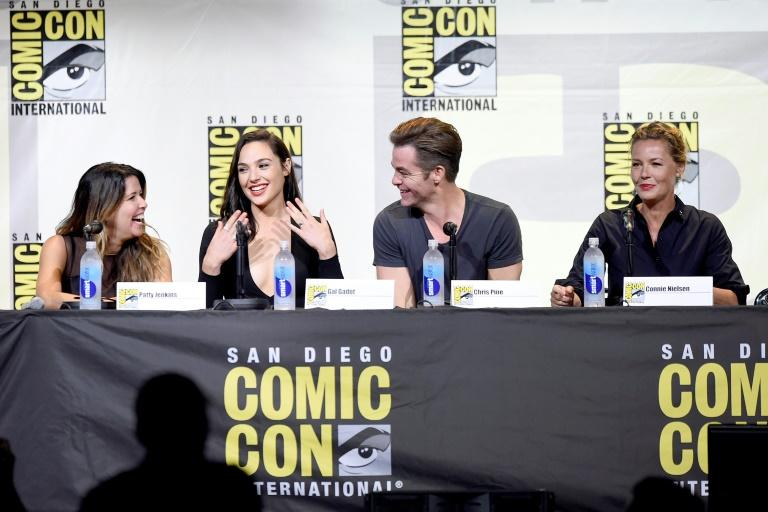 (L-R) Director Patty Jenkins, actors Gal Gadot, Chris Pine and Connie Nielsen attend the Warner Bros. presentation during Comic-Con, on July 23, 2016 in San Diego, California