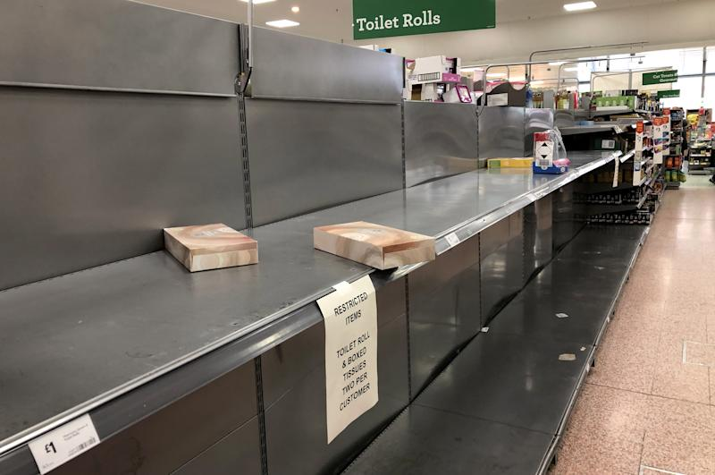 LONDON, UNITED KINGDOM - MARCH 16, 2020: Empty shelves in a store in London as shoppers stockpile tinned food and basic consumer goods for fears of a potential quarantine due to an outbreak of the novel coronavirus (COVID-19). Ilya Dmitryachev/TASS (Photo by Ilya Dmitryachev\TASS via Getty Images)