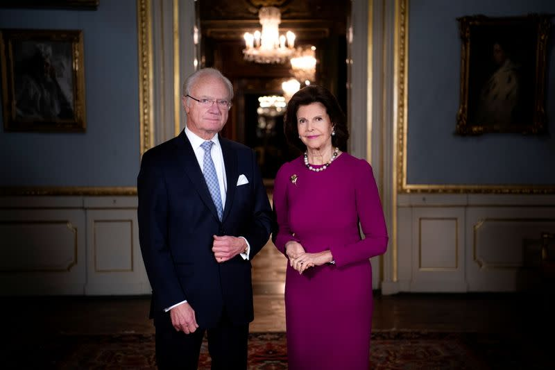 FILE PHOTO: Swedish King Carl Gustaf and Queen Silvia pose at the Royal Castle in Stockholm
