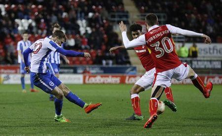 Britain Football Soccer - Rotherham United v Brighton & Hove Albion - Sky Bet Championship - AESSEAL New York Stadium - 7/3/17 Brighton's Solly March scores their second goal  Mandatory Credit: Action Images / Lee Smith Livepic