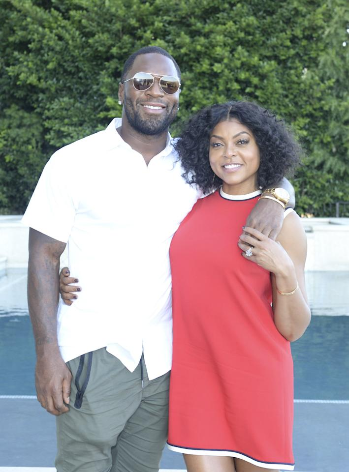 "<p>The actress <a href=""https://www.popsugar.com/celebrity/Taraji-P-Henson-Engaged-Kelvin-Hayden-44841170"" class=""ga-track"" data-ga-category=""Related"" data-ga-label=""http://www.popsugar.com/celebrity/Taraji-P-Henson-Engaged-Kelvin-Hayden-44841170"" data-ga-action=""In-Line Links"">announced her engagement on Instagram</a> with an adorable post about the proposal in May 2018. ""I said yes y'all!!!"" she wrote. ""He started with the Cartier love bracelet BUT that was my #Mothersday gift and then he dropped to his knee and I almost passed out!!! 😩😩😂😂😂#sheisofficiallyoffthemarket and she is sooooooooooooo HAPPY!!!!!! #GODIS 💍💋💋💋""</p>"
