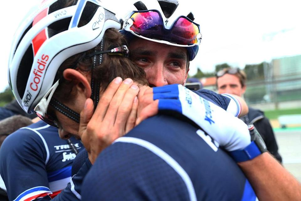 IMOLA ITALY  SEPTEMBER 27 Arrival  Julian Alaphilippe of France  Guillaume Martin of France  Celebration  during the 93rd UCI Road World Championships 2020 Men Elite Road Race a 2582km race from Imola to Imola  Autodromo Enzo e Dino Ferrari  ImolaEr2020  Imola2020  on September 27 2020 in Imola Italy Photo by Alex Whitehead  PoolGetty Images