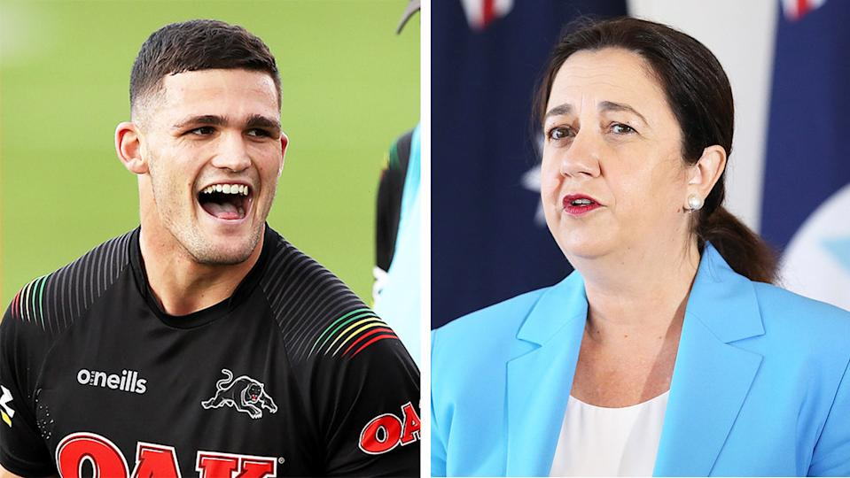 NRL players such as Nathan Cleary (pictured left) during training and Queensland after the Premier Annastacia Palaszczuk (pictured right) during a media conference.