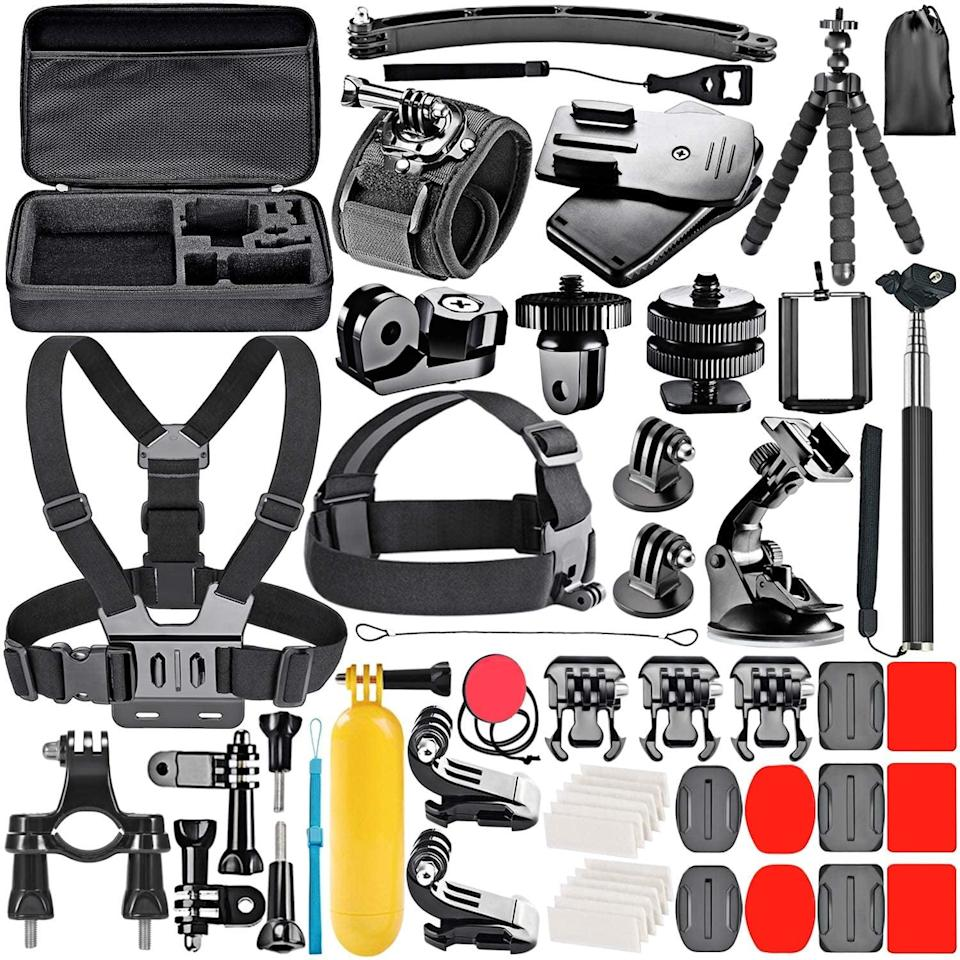 <p>If you love recording your adventures, this <span>Neewer 53-In-1 Action Camera Accessory Kit Compatible with GoPro</span> ($21) will come in handy! </p>