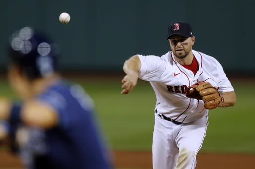 Boston Red Sox catcher Kevin Plawecki pitches during the ninth inning of a baseball game against the Tampa Bay Rays, Thursday, Aug. 13, 2020, in Boston. (AP Photo/Michael Dwyer)