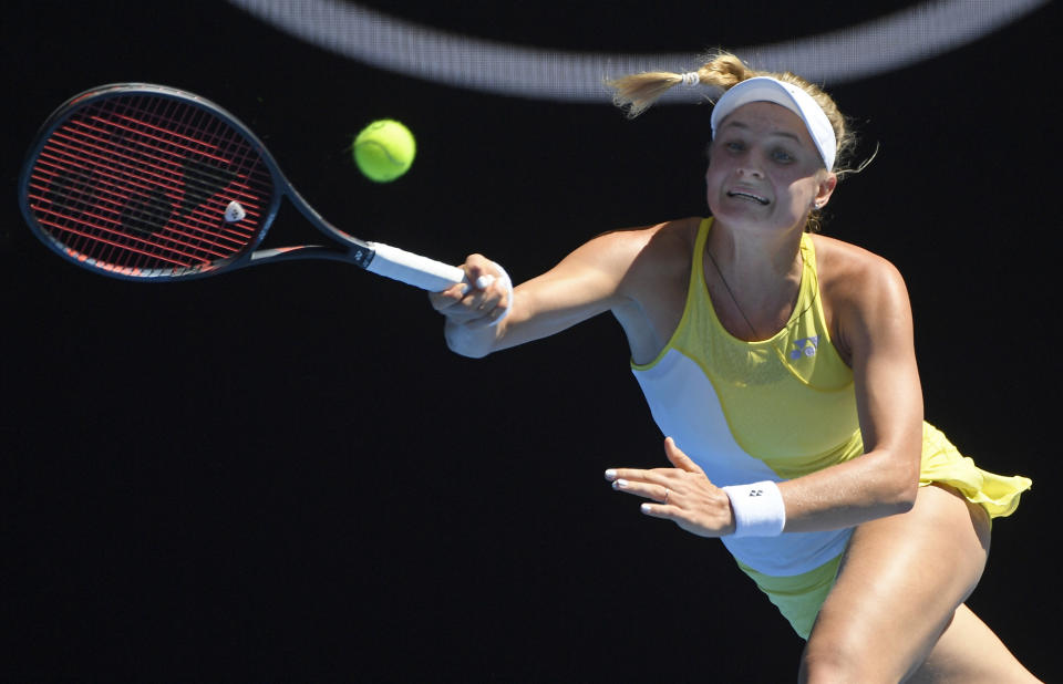 Ukraine's Dayana Yastremska makes a forehand return to United States' Serena Williams during their third round match at the Australian Open tennis championships in Melbourne, Australia, Saturday, Jan. 19, 2019. (AP Photo/Andy Brownbill)
