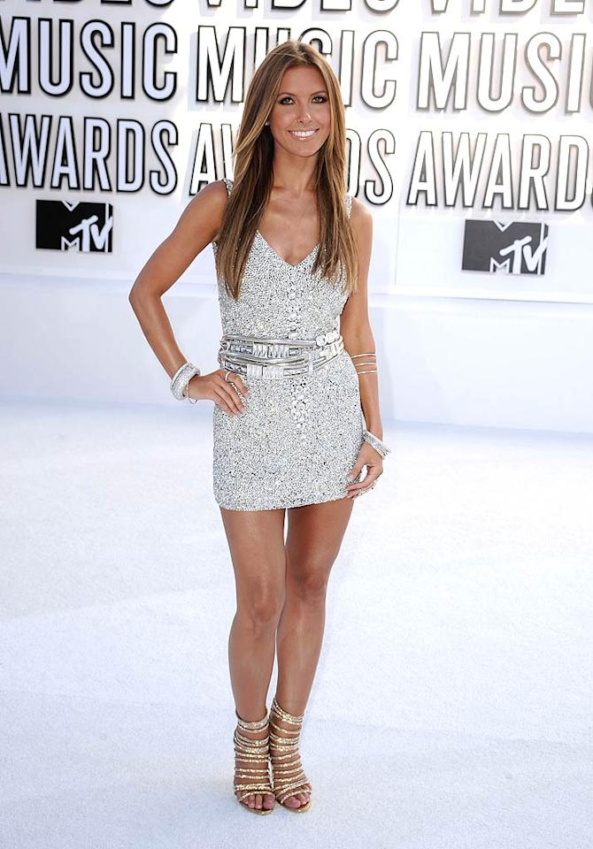 "Audrina Patridge looked so amazing at the VMAs that we had to take one more glance at her glamour. The ""Hills"" alum truly sparkled in an Isaac Mizrahi mini, Judith Leiber belt, Giuseppe Zanotti for Balmain sandals, and diamond bangle bracelets. Steve Granitz/<a href=""http://www.wireimage.com"" target=""new"">WireImage.com</a> - September 12, 2010"