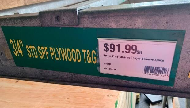 The price of a three-quarter-inch spruce sheet of plywood is selling for more than $90 this week at a Kent Building Supplies store in Halifax.
