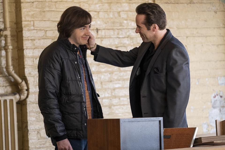 """Michael Gandolfini as Teenage Tony Soprano and Alessandro Nivola as Dickie Moltisanti in New Line Cinema and Home Box Office's mob drama """"The Many Saints of Newark,"""" a Warner Bros. Pictures release. (Barry Wetcher/Warner Bros. Entertainment Inc.)"""
