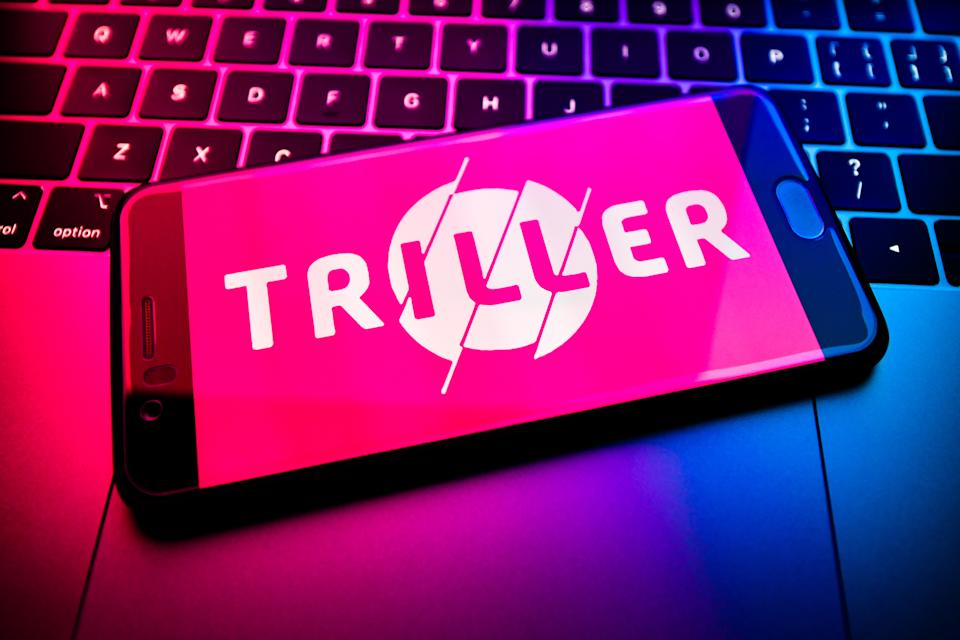 CHINA - 2020/08/16: In this photo illustration the Triller logo is seen displayed on a smartphone. (Photo Illustration by SheldonCooper/SOPA Images/LightRocket via Getty Images)