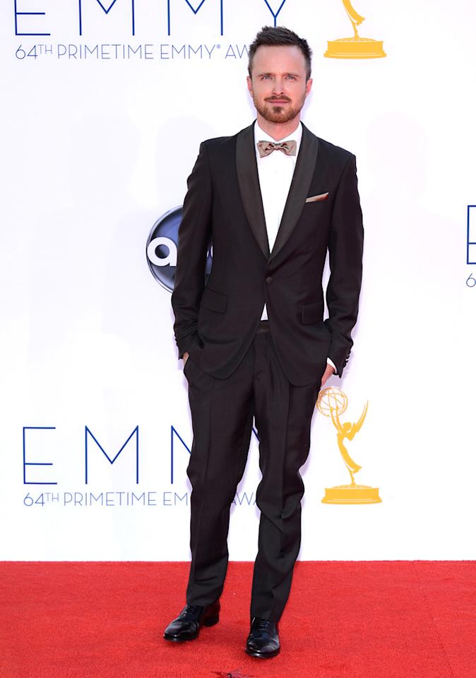 Aaron Paul arrives at the 64th Primetime Emmy Awards at the Nokia Theatre in Los Angeles on September 23, 2012.