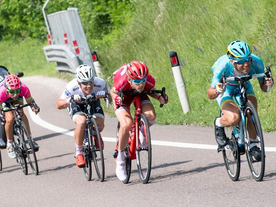 Cyclists in full tuck position.JPG