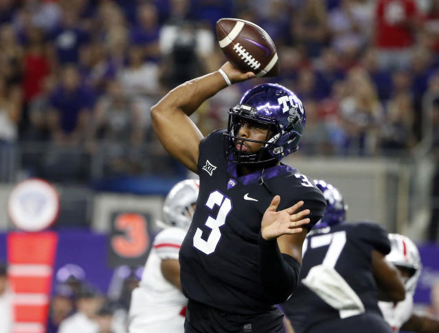 TCU quarterback Shawn Robinson (3) throws against Ohio State during the first half of an NCAA college football game in Arlington, Texas, Saturday, Sept. 15, 2018. (AP Photo/Michael Ainsworth)