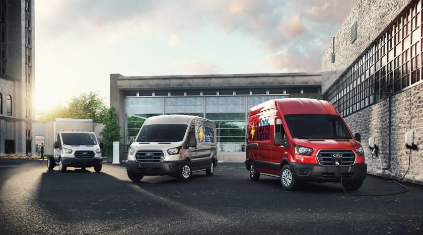Ford's all-electric E-Transit commercial vans will be offered in several configurations. This picture shows three of them.