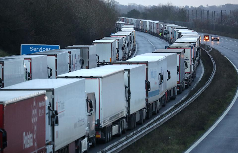 Lorries are parked up on the M20 in Kent near to Folkestone services whilst the Port of Dover remains closed.