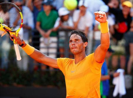 Tennis - ATP World Tour Masters 1000 - Italian Open - Foro Italico, Rome, Italy - May 19, 2018 Spain's Rafael Nadal celebrates winning his semi final match against Serbia's Novak Djokovic REUTERS/Tony Gentile