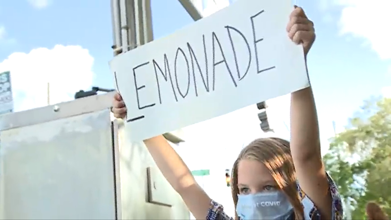 Erin Bailey, a single mother to four children has said that the lemonade stand has become the family's only source of income. (WPBF)