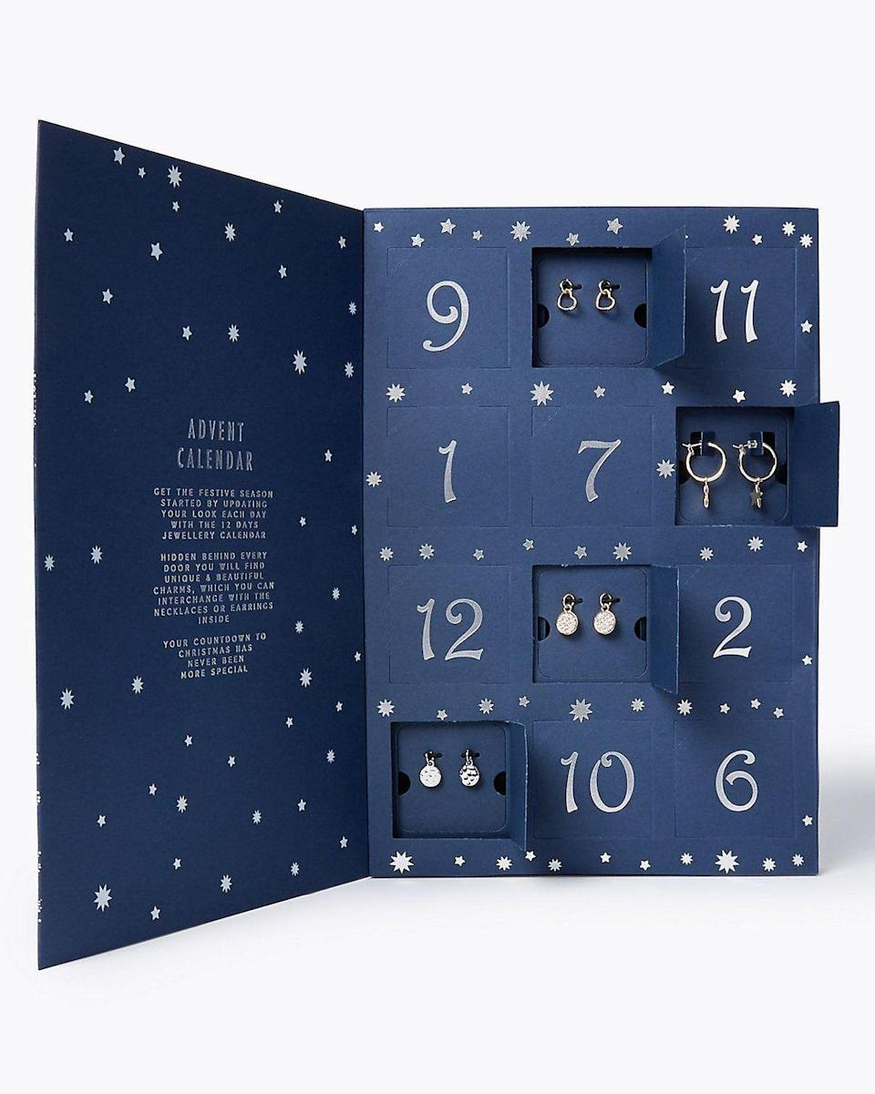 """<p><a class=""""link rapid-noclick-resp"""" href=""""https://go.redirectingat.com?id=127X1599956&url=https%3A%2F%2Fwww.marksandspencer.com%2Fchristmas-jewellery-advent-calendar%2Fp%2Fclp60164365&sref=https%3A%2F%2Fwww.housebeautiful.com%2Fuk%2Flifestyle%2Fshopping%2Fg150%2Falternative-advent-calendar%2F"""" rel=""""nofollow noopener"""" target=""""_blank"""" data-ylk=""""slk:BUY NOW"""">BUY NOW</a> £19.50 via M&S</p><p>M&S' 12 days of Christmas jewellery advent calendar includes a different charm behind each door, which can be interchanged with the earrings and necklaces included. Skin Kind™ metal means it's suitable even for extra sensitive skin. </p>"""