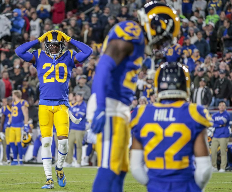 Jalen Ramsey (20) reacts after the Rams nearly intercepted a pass thrown by Seattle's Russell Wilson in 2019.