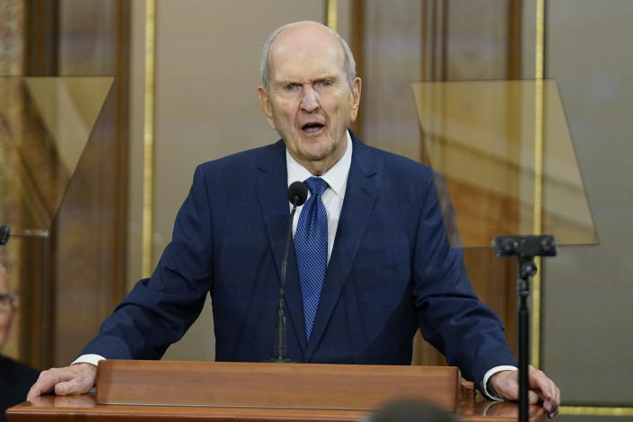 The Church of Jesus Christ of Latter-day Saints President Russell M. Nelson speaks during a news conference on June 14, 2021, in Salt Lake City. Members of the faith widely known as the Mormon church remain deeply divided on vaccines and mask-wearing despite consistent guidance from church leaders. (AP Photo/Rick Bowmer)