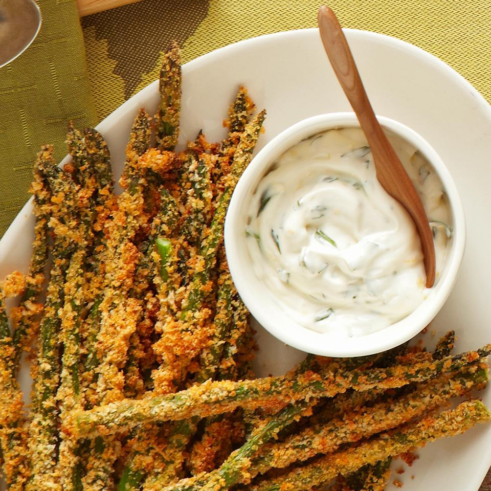 <p>These crispy asparagus sticks are a fantastic side dish, but are also a great hand-held appetizer. They're served with a creamy lemon-tarragon dipping sauce. Consider passing them around at your next party!</p>