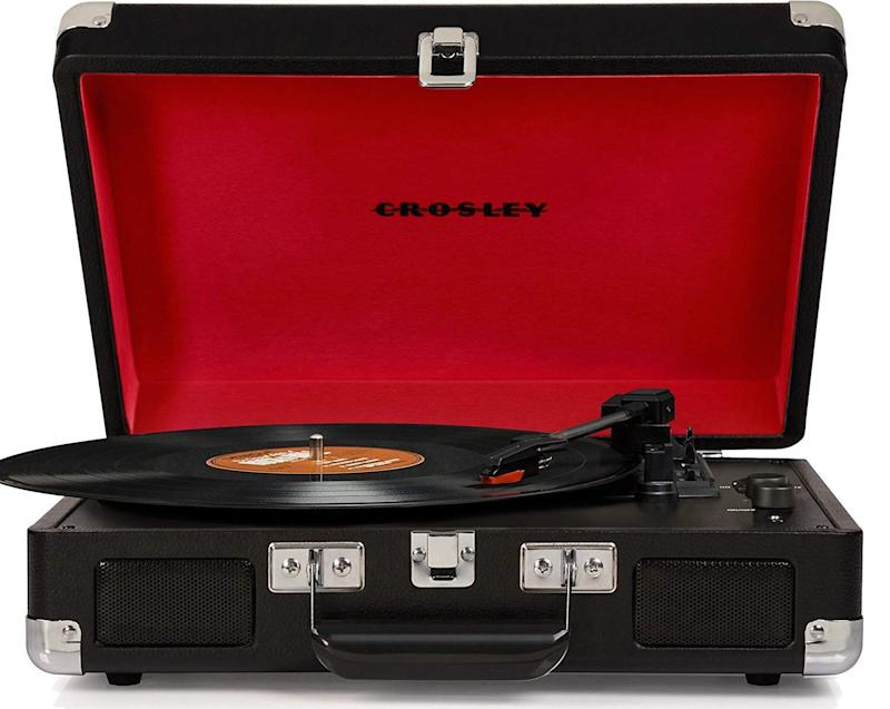 "Look familiar? Record players are back, and they're in style. (Plus, there are plenty of great vinyls for new music.) Get it for $93.98 at <a href=""https://www.amazon.ca/Crosley-CR8005D-BK-Portable-Turntable-Bluetooth/dp/B01IWIBJDS"" target=""_blank"" rel=""noopener noreferrer"">Amazon.ca</a>."