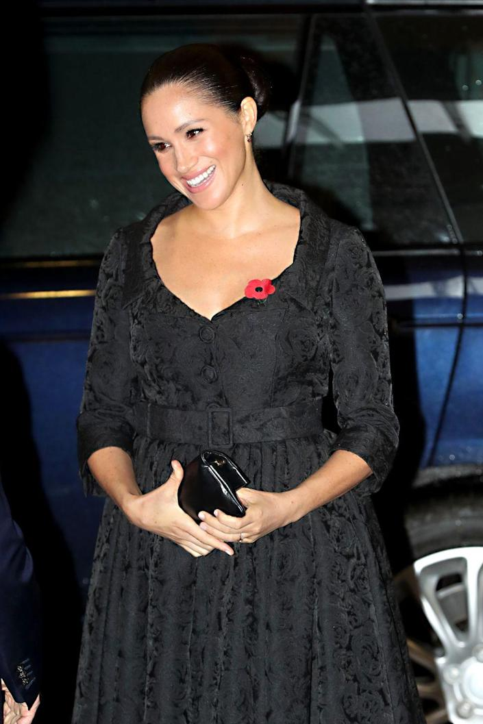 "<p>For the Festival of Remembrance in 2019, Meghan wore ruby heart shaped drop earrings by designer Jessica McCormack to set off her poppy pin. </p><p><strong>More</strong>: <a href=""https://www.townandcountrymag.com/leisure/arts-and-culture/a10392338/what-is-remembrance-day-and-poppy-pin-badges/"" rel=""nofollow noopener"" target=""_blank"" data-ylk=""slk:What Does Britain's Remembrance Day Poppy Symbolize?"" class=""link rapid-noclick-resp"">What Does Britain's Remembrance Day Poppy Symbolize?</a></p>"