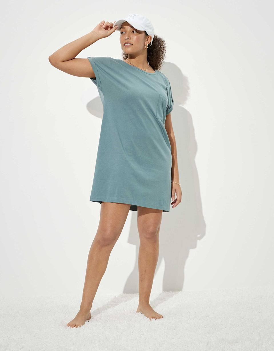 """<br><br><strong>AE</strong> T-Shirt Dress, $, available at <a href=""""https://go.skimresources.com/?id=30283X879131&url=https%3A%2F%2Fwww.ae.com%2Fus%2Fen%2Fp%2Fwomen%2Floungewear%2Fjumpsuits-dresses%2Fae-t-shirt-dress%2F1399_5526_400"""" rel=""""nofollow noopener"""" target=""""_blank"""" data-ylk=""""slk:American Eagle Outfitters"""" class=""""link rapid-noclick-resp"""">American Eagle Outfitters</a>"""