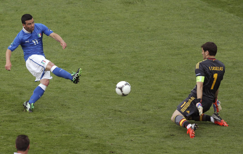 FILE - The June 10, 2012 file photo shows Italy's Antonio Di Natale scoring during the Euro 2012 soccer championship Group C match between Spain and Italy in Gdansk, Poland, Sunday, June 10, 2012. (AP Photo/Gero Breloer)