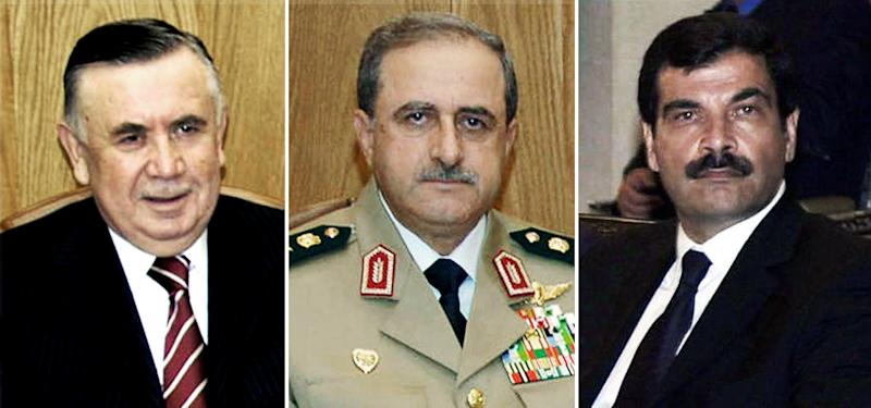 This undated combo image made of 3 photos released by the Syrian official news agency SANA, shows former defense minister Hassan Turkmani, left, Syrian Defense Minister Gen. Dawoud Rajha, center, and Bashar Assad's brother-in-law Major General Assef Shawkat, right, in Damascus, Syria. Syrian government forces struck back against rebels with attack helicopters and shelling around Damascus Thursday, July 19, 2012 a day after an audacious bomb attack that killed three senior members of the ruling regime. (AP Photo/SANA)