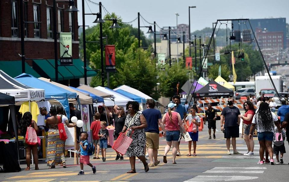 Kansas City's Juneteenth Heritage Festival drew hundreds as it kicked off in the 18th and Vine Jazz District on Saturday, June 19, 2021.