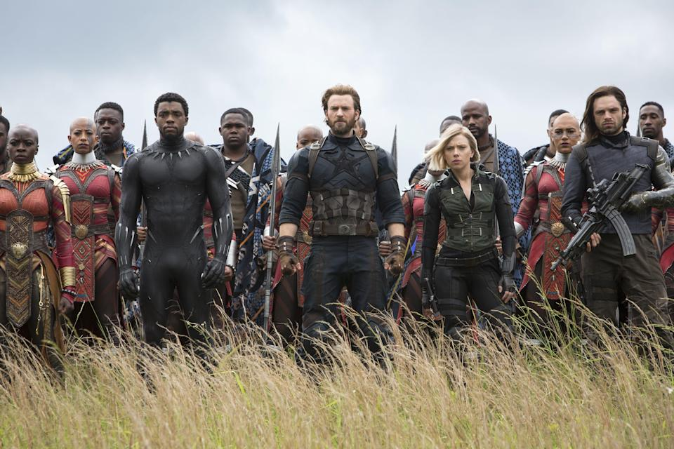 "<p><em>Avengers: Infinity War</em> brings all your faves from the Marvel Cinematic Universe together for this adventure. Watch as Black Widow, Hulk, Spiderman, Peter Quill, Black Panther, and so many more heroes team up to save the world from Thanos' evil plan to kill half of the universe's population. </p> <p><a href=""https://www.netflix.com/title/80219127"" rel=""nofollow noopener"" target=""_blank"" data-ylk=""slk:Available to stream on Netflix."" class=""link rapid-noclick-resp""><em>Available to stream on Netflix.</em></a></p>"