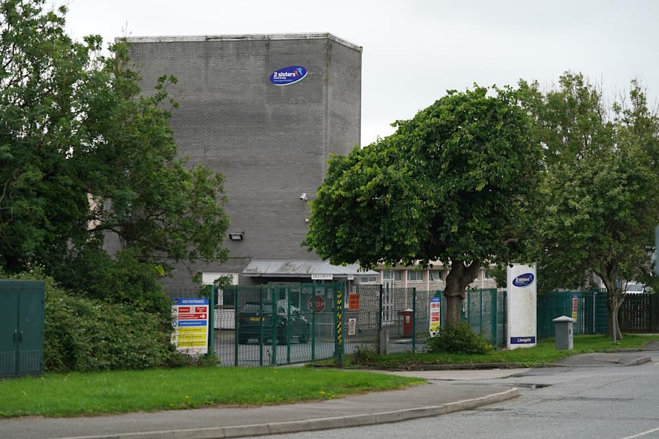 """ANGLESEY, June 23, 2020 - Photo taken on June 23, 2020 shows a general view of the 2 Sisters food factory in Llangefni, Anglesey, Britain. TO GO WITH """"Over 300 food process workers in Wales test positive for COVID-19"""" (Photo by Jon Super/Xinhua via Getty) (Xinhua/Jon Super via Getty Images)"""