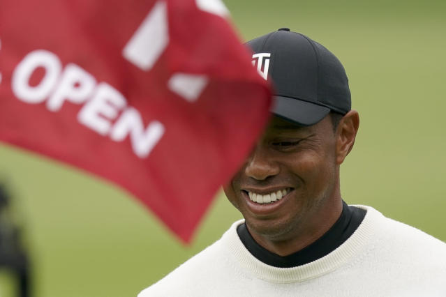 Tiger Woods walks up to the 11th green during a practice round for the U.S. Open Championship golf tournament Wednesday, June 12, 2019, in Pebble Beach, Calif. (AP Photo/David J. Phillip)