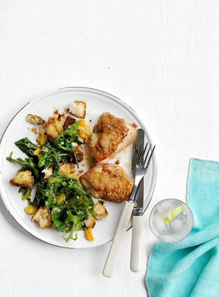 "<p>This to-die-for dish calls for juicy chicken thighs cooked with orange slices and a lemony kale-and-crouton salad. </p><p><em><a href=""https://www.womansday.com/food-recipes/food-drinks/recipes/a50199/roasted-citrus-chicken-salad-recipe-wdy0515/"" rel=""nofollow noopener"" target=""_blank"" data-ylk=""slk:Get the Roasted Citrus Chicken Salad recipe."" class=""link rapid-noclick-resp"">Get the Roasted Citrus Chicken Salad recipe. </a></em></p>"