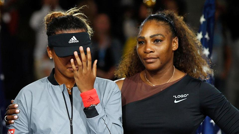 Naomi Osaka was brought to tears as fans booed at the US Open presentation. Pic: Getty