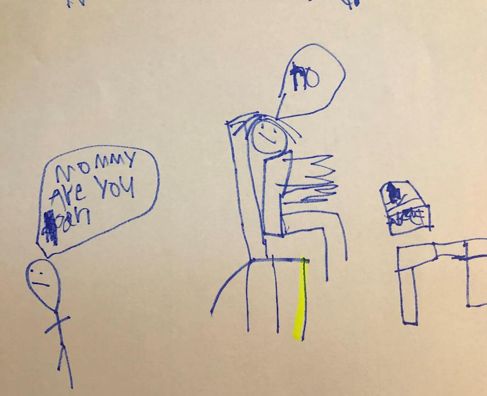 Priya Amin's son Kirin drew this picture of her working from home. (Photo: Courtesy of Priya Amin)