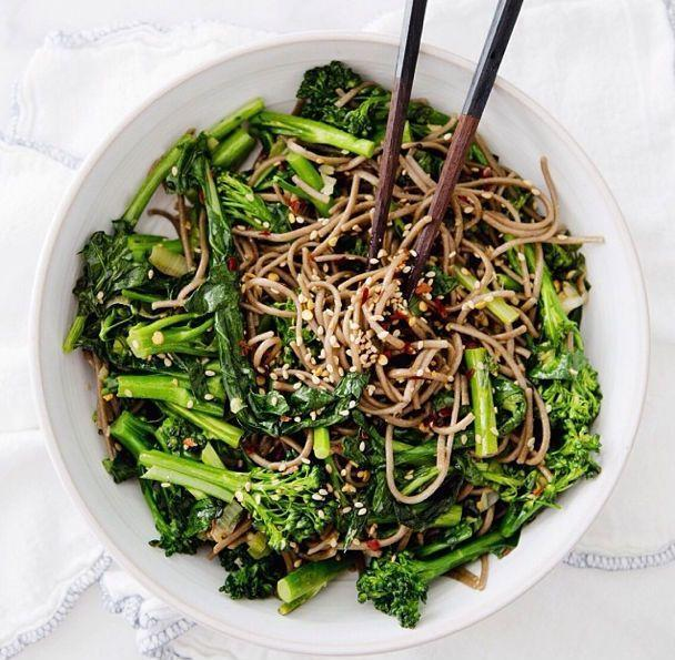 """<p>This combo of rapini and soba noodles from <a href=""""https://ahouseinthehills.com/"""" rel=""""nofollow noopener"""" target=""""_blank"""" data-ylk=""""slk:Sarah Yates of A House in the Hills"""" class=""""link rapid-noclick-resp"""">Sarah Yates of A House in the Hills</a> has it all: It's simple, spicy, packed with flavor, and hearty enough to keep you going.</p><p><strong><a href=""""https://www.countryliving.com/food-drinks/a4965/vegan-gluten-free-noodle-bowl/"""" rel=""""nofollow noopener"""" target=""""_blank"""" data-ylk=""""slk:Get the recipe"""" class=""""link rapid-noclick-resp"""">Get the recipe</a>.</strong></p>"""