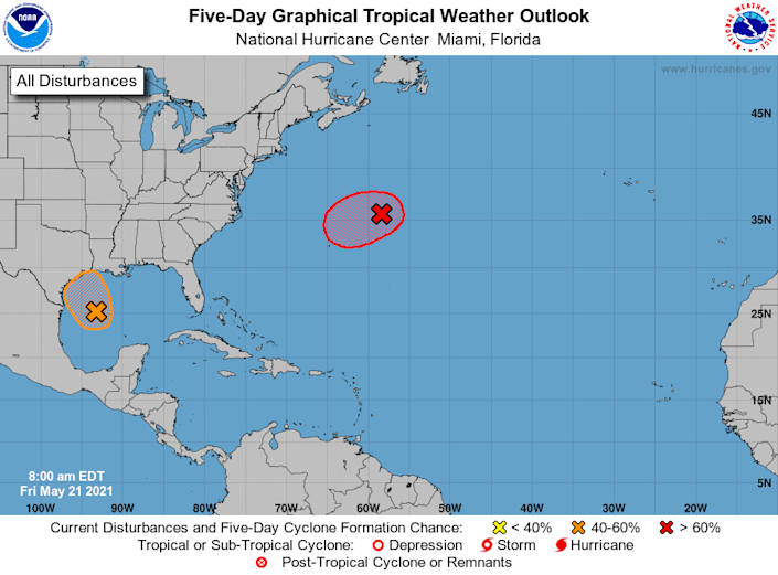 Two separate storms could form over the next day or so in the Atlantic Ocean (in red) and in the Gulf of Mexico (in orange), the National Hurricane Center said.
