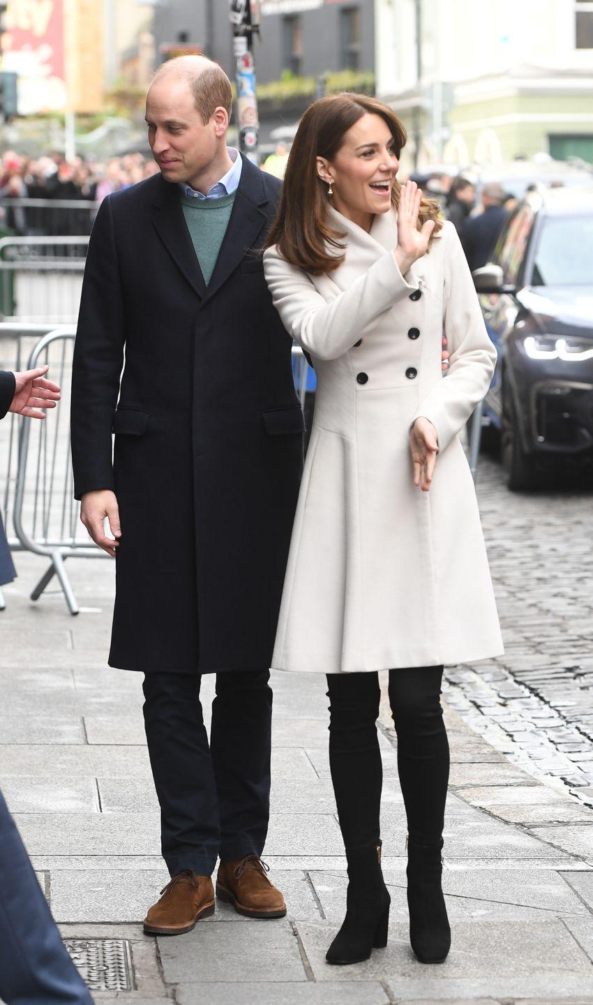 <p>Catherine, Duchess of Cambridge (AKA Kate Middleton) stepped out during the royal tour of Ireland wearing an ivory coat by Reiss that she wore for the first time in 12 years - scroll through to see the then VS. now comparison. While Kate teamed the coat with tights and mid-rise boots for the first outing, the Duchess opted for a pair of black trousers and heeled ankle boots the second time around. </p>