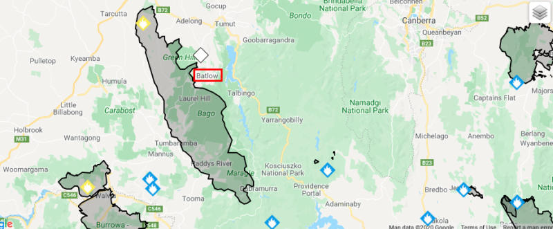 Pictured are the fires threatening Bartlow. Source: NSW RFS