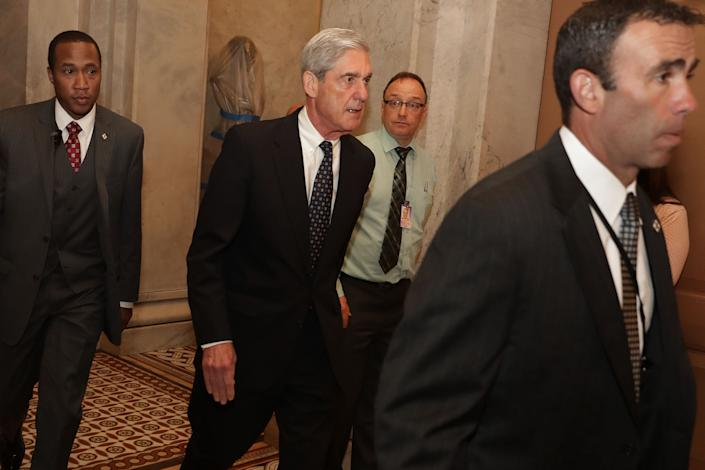 Former FBI Director Robert Mueller leaves a meeting with members of the Senate Judiciary Committee in June 2017. (Photo: Chip Somodevilla/Getty Images)