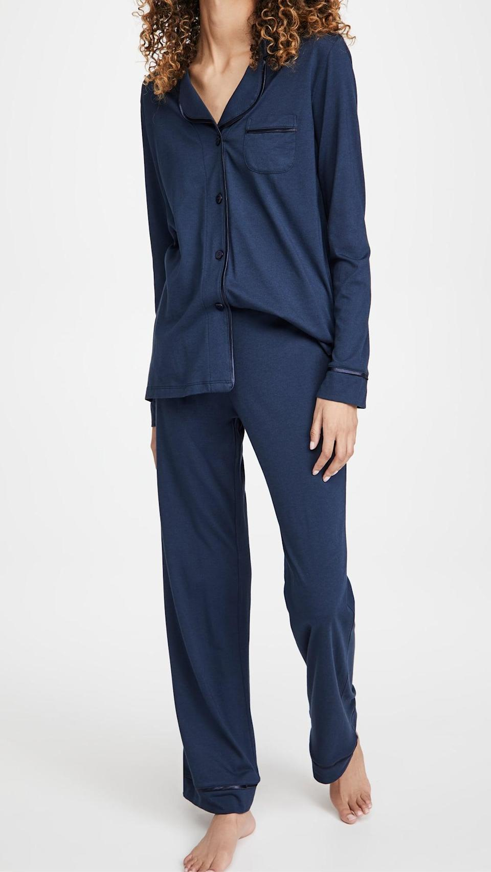 <p>This <span>Cosabella Bella Pima Long Sleeve Top &amp; Pant PJ Set</span> ($133) is so soft. It comes in seven colors, and we love the dark blue.</p>
