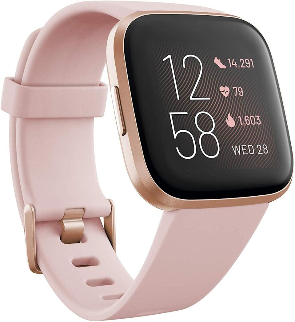 <p>This <span>Fitbit Versa 2 Health & Fitness Smartwatch </span> ($179) tracks heart rate, steps, and even sleep.</p>