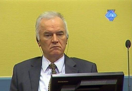 "A screen grab released by the International Criminal Tribunal for the former Yugoslavia (ICTY) shows former Bosnian Serb army chief Ratko Mladic sitting in the courtroom at The Hague. Mladic's trial has been abruptly halted, just a day after it opened, because of prosecution ""irregularities"" in the high-profile case"