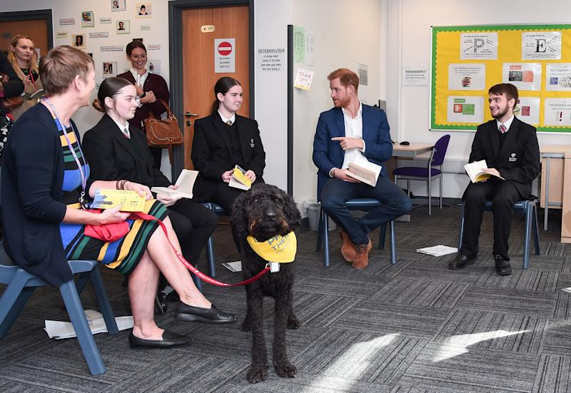 Britain's Prince Harry, Duke of Sussex (2nd R) joins a Reluctant Readers Session, with Barney the therapy dog (C) during his visit to Nottingham Academy on October 10, 2019 in Nottingham, central England to mark World Mental Health Day. (Photo by Eamonn M. McCormack / POOL / AFP) (Photo by EAMONN M. MCCORMACK/POOL/AFP via Getty Images)