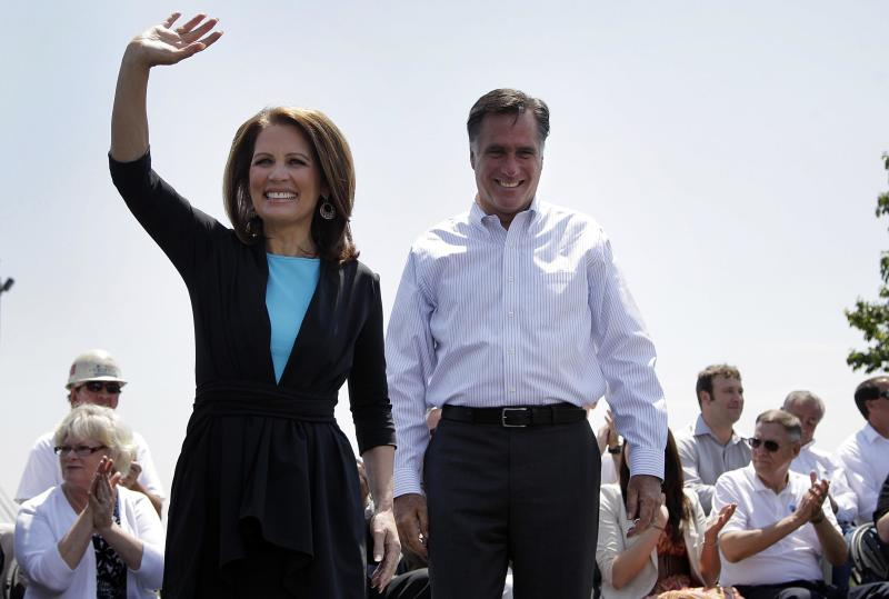 "FILE - In this May 3, 2012, file photo, Republican presidential candidate, former Massachusetts Gov. Mitt Romney and Rep. Michele Bachmann, R-Minn., arrive at a campaign stop in Portsmouth, Va. Remember Newt Gingrich calling Mitt Romney a liar? Bachmann saying Romney's unelectable? Rick Santorum calling Romney ""the worst Republican in the country"" to run against Obama? They're hoping you don't. And acting like it never happened _ even though most of their words are just clicks away online.(AP Photo/Jae C. Hong, File)"