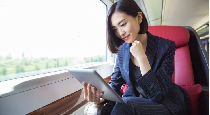 Chinese businesswoman on a train