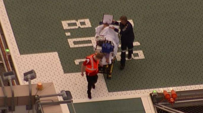 The baby was airlifted to a Brisbane hospital with a fractured skull and cuts to his head and neck following the attack. Source: Nine News