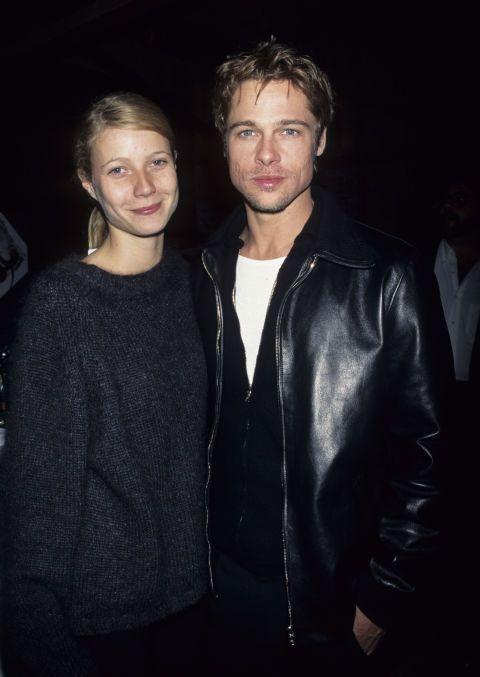"""<p>The ultimate '90s couple co-starred together in the 1995 film <em>Se7en </em><span class=""""redactor-invisible-space"""">and hit it off</span>. Later, Pitt proposed but the two called in off in 1997. Paltrow later <a href=""""http://www.usmagazine.com/celebrity-news/news/gwyneth-paltrow-brad-pitt-too-good-for-me-ben-affleck-not-ready-2015141"""" rel=""""nofollow noopener"""" target=""""_blank"""" data-ylk=""""slk:told Howard Stern"""" class=""""link rapid-noclick-resp"""">told Howard Stern</a>, """"I was 22 when we met. It's taken me until 40 to get my head out of my ass. You can't make that decision when you're 22 years old...I wasn't ready, and he was too good for me. I didn't know what I was doing."""" </p>"""